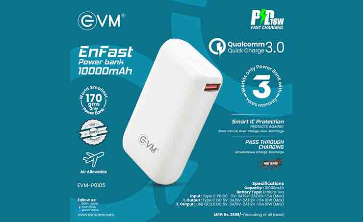 EVM Launches Made In India 10,000 MAh Powerbank