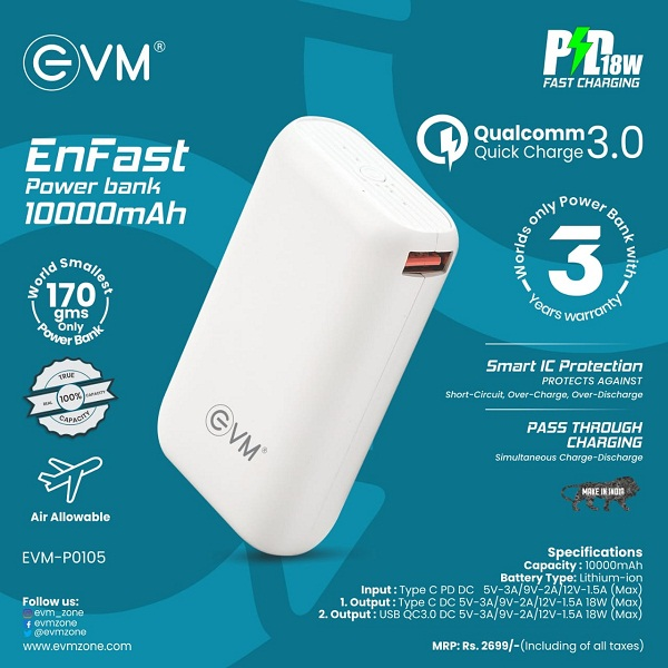 EVM Launches Made in India Compact 10,000 mAh Powerbank 'EnFast' with Qualcomm 3.0 Quickcharge
